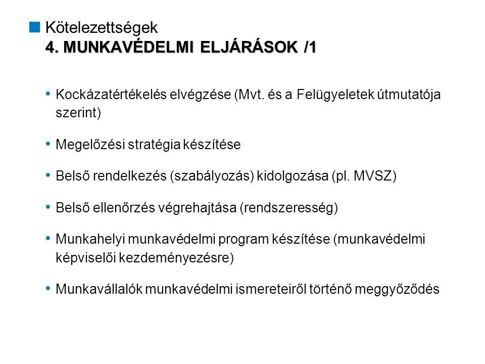 4. MUNKAVÉDELMI ELJÁRÁSOK /1  Kötelezettségek 4.