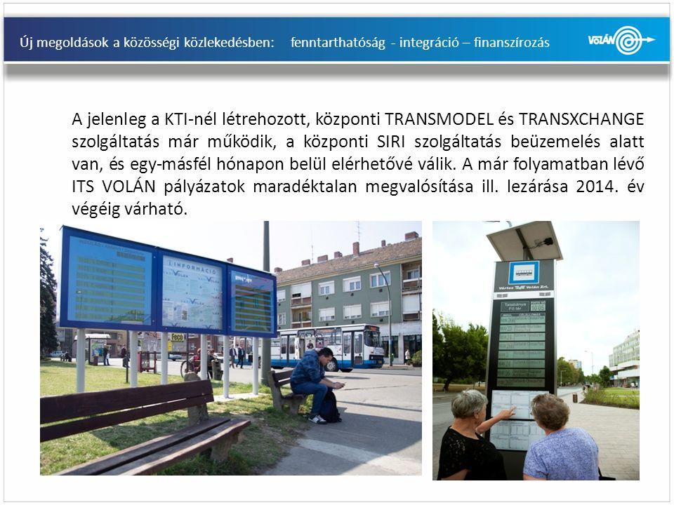 Új megoldások a közösségi közlekedésben: fenntarthatóság - integráció – finanszírozás A jelenleg a KTI-nél létrehozott, központi TRANSMODEL és TRANSXCHANGE szolgáltatás már működik, a központi SIRI szolgáltatás beüzemelés alatt van, és egy-másfél hónapon belül elérhetővé válik.