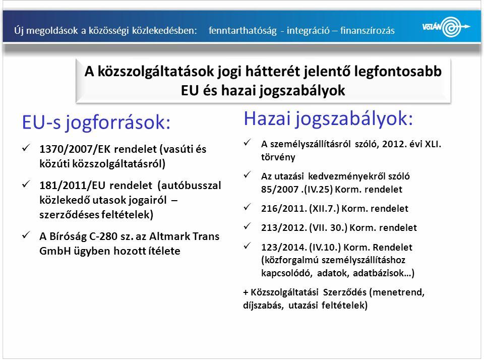 Új megoldások a közösségi közlekedésben: fenntarthatóság - integráció – finanszírozás EU-s jogforrások: 1370/2007/EK rendelet (vasúti és közúti közszolgáltatásról) 181/2011/EU rendelet (autóbusszal közlekedő utasok jogairól – szerződéses feltételek) A Bíróság C-280 sz.