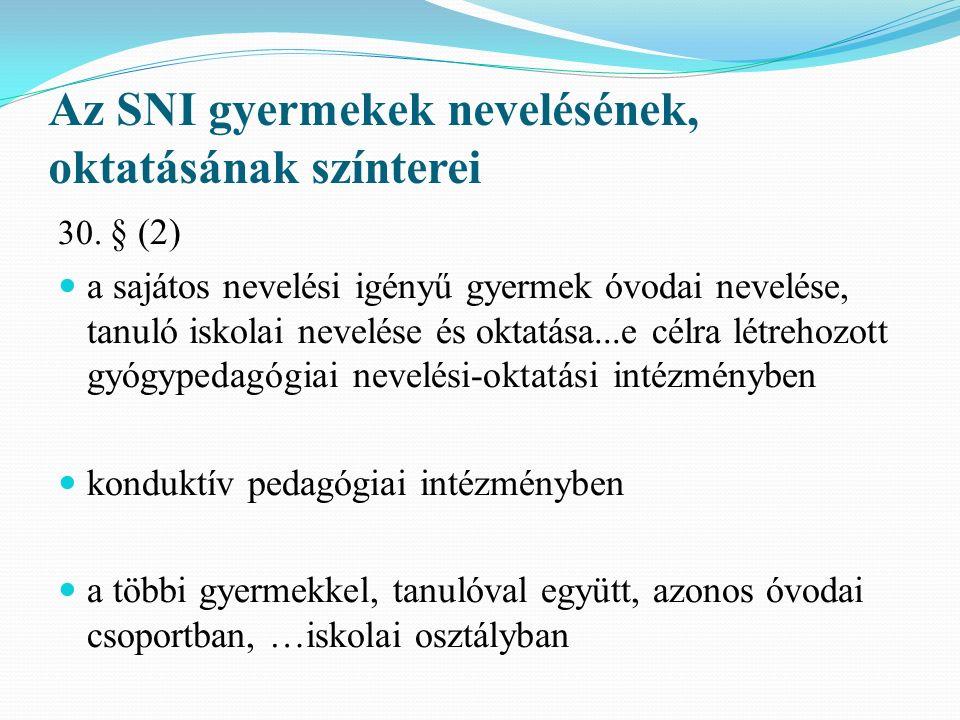 Az SNI gyermekek nevelésének, oktatásának színterei 30. § (2) a sajátos nevelési igényű gyermek óvodai nevelése, tanuló iskolai nevelése és oktatása..