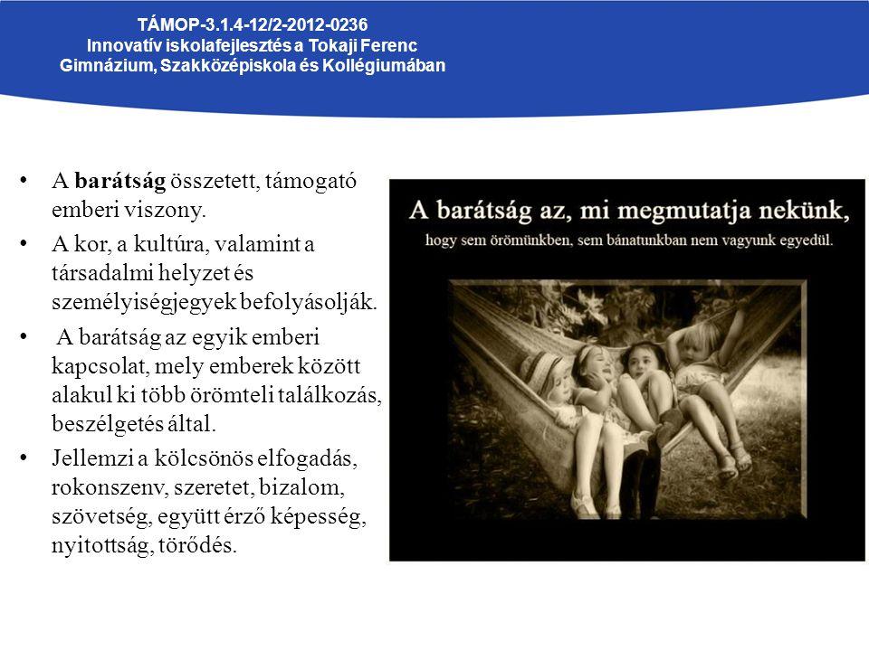 TÁMOP-3.1.4-12/2-2012-0236 Innovatív iskolafejlesztés a Tokaji Ferenc Gimnázium, Szakközépiskola és Kollégiumában A barátság összetett, támogató ember