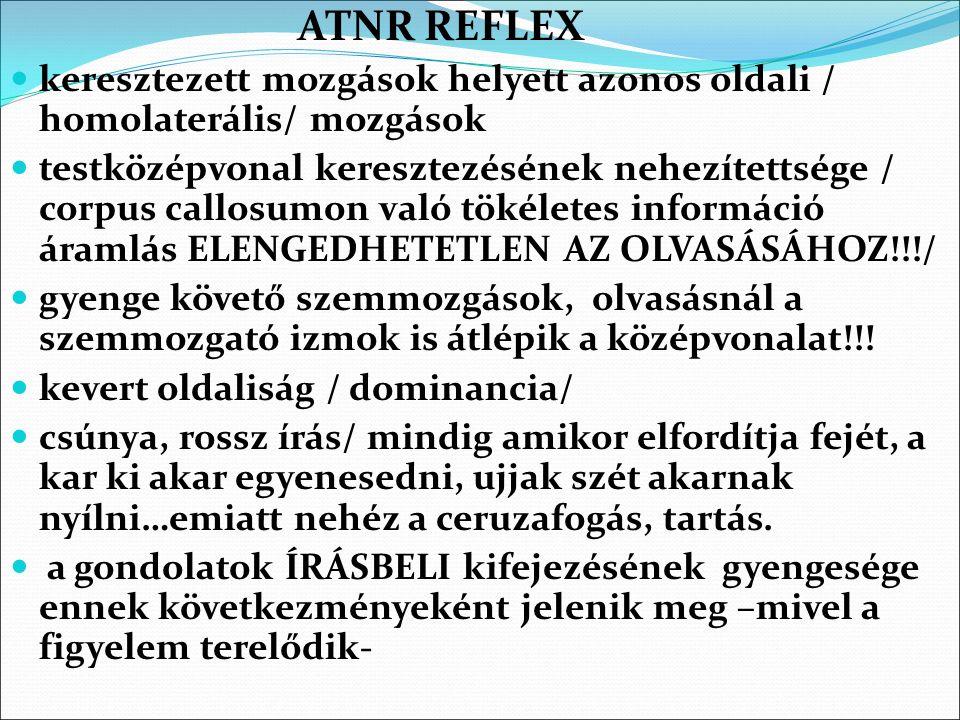ATNR REFLEX keresztezett mozgások helyett azonos oldali / homolaterális/ mozgások testközépvonal keresztezésének nehezítettsége / corpus callosumon va