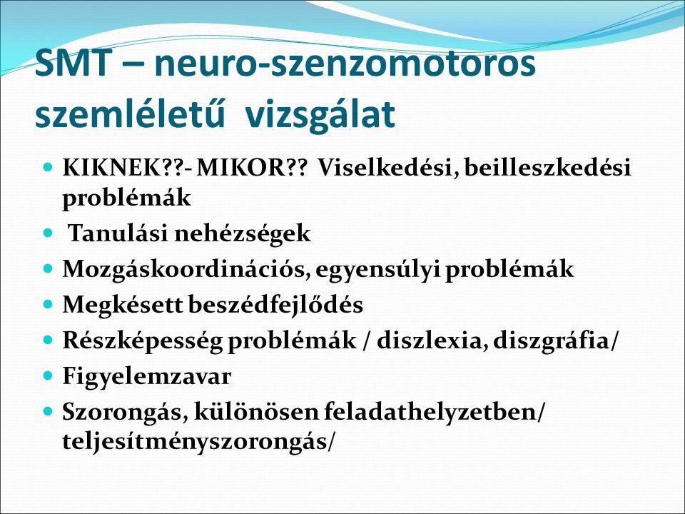 SMT – neuro-szenzomotoros szemléletű vizsgálat KIKNEK??- MIKOR?? Viselkedési, beilleszkedési problémák Tanulási nehézségek Mozgáskoordinációs, egyensú