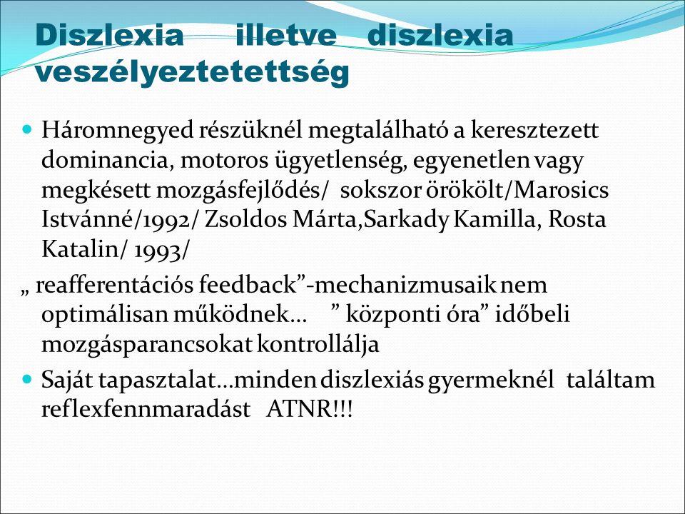 Diszlexia illetve diszlexia veszélyeztetettség Háromnegyed részüknél megtalálható a keresztezett dominancia, motoros ügyetlenség, egyenetlen vagy megk