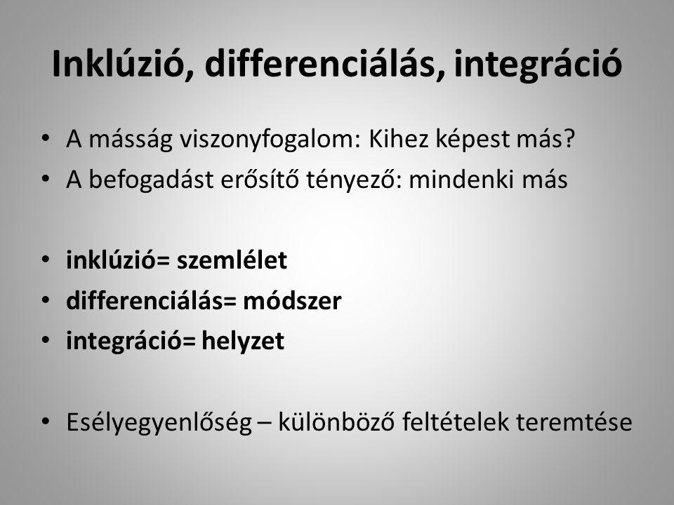 Inklúzió, differenciálás, integráció A másság viszonyfogalom: Kihez képest más.