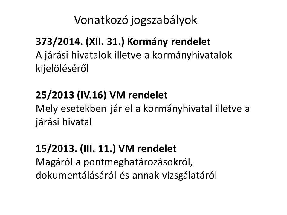 Vonatkozó jogszabályok 373/2014. (XII.