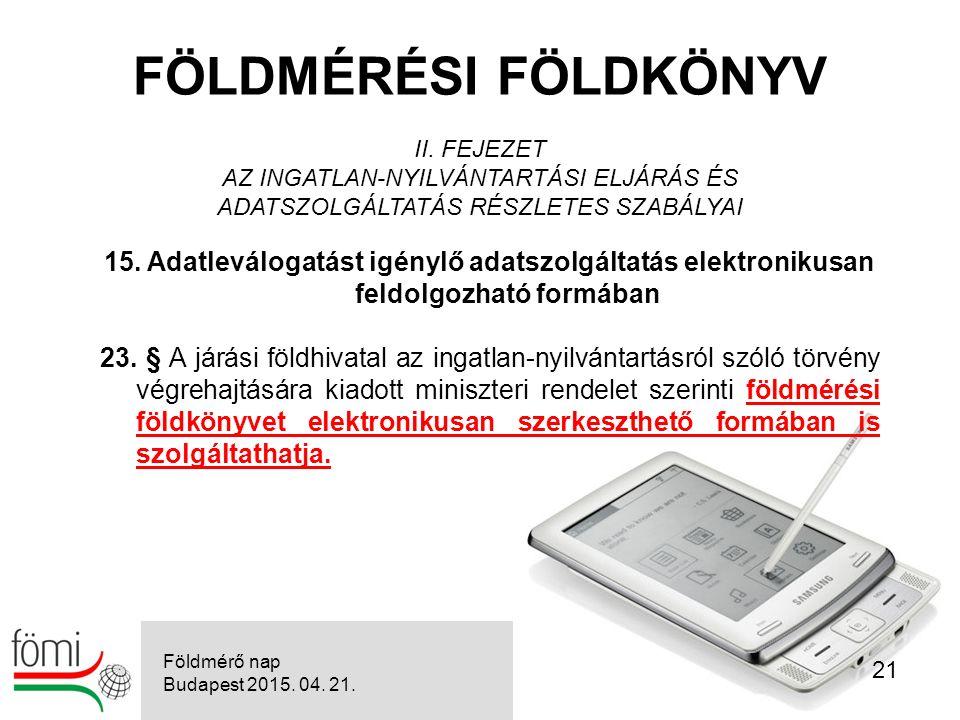 21 FÖLDMÉRÉSI FÖLDKÖNYV II.