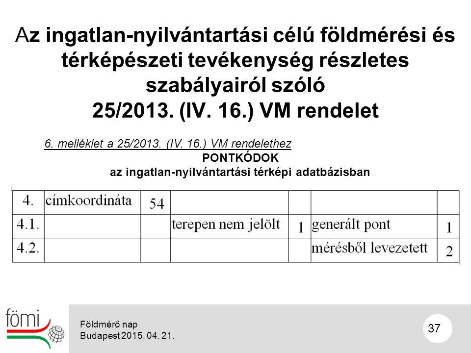 37 Az ingatlan-nyilvántartási célú földmérési és térképészeti tevékenység részletes szabályairól szóló 25/2013.