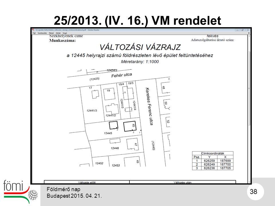 38 25/2013. (IV. 16.) VM rendelet Földmérő nap Budapest 2015. 04. 21.