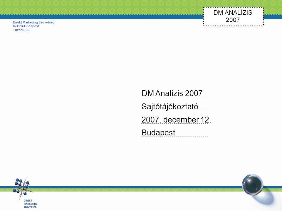 DM ANALÍZIS 2007 Direkt Marketing Szövetség H-1134 Budapest Tüzér u.
