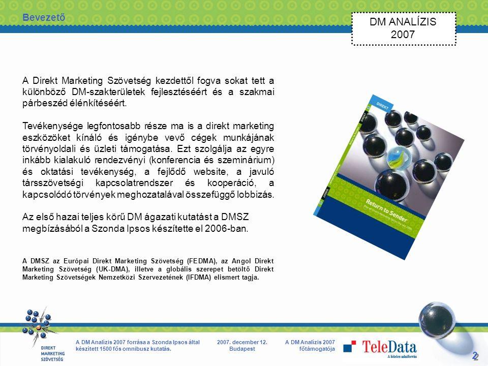 2 2 A DM Analízis 2007 főtámogatója A DM Analízis 2007 forrása a Szonda Ipsos által készített 1500 fős omnibusz kutatás.