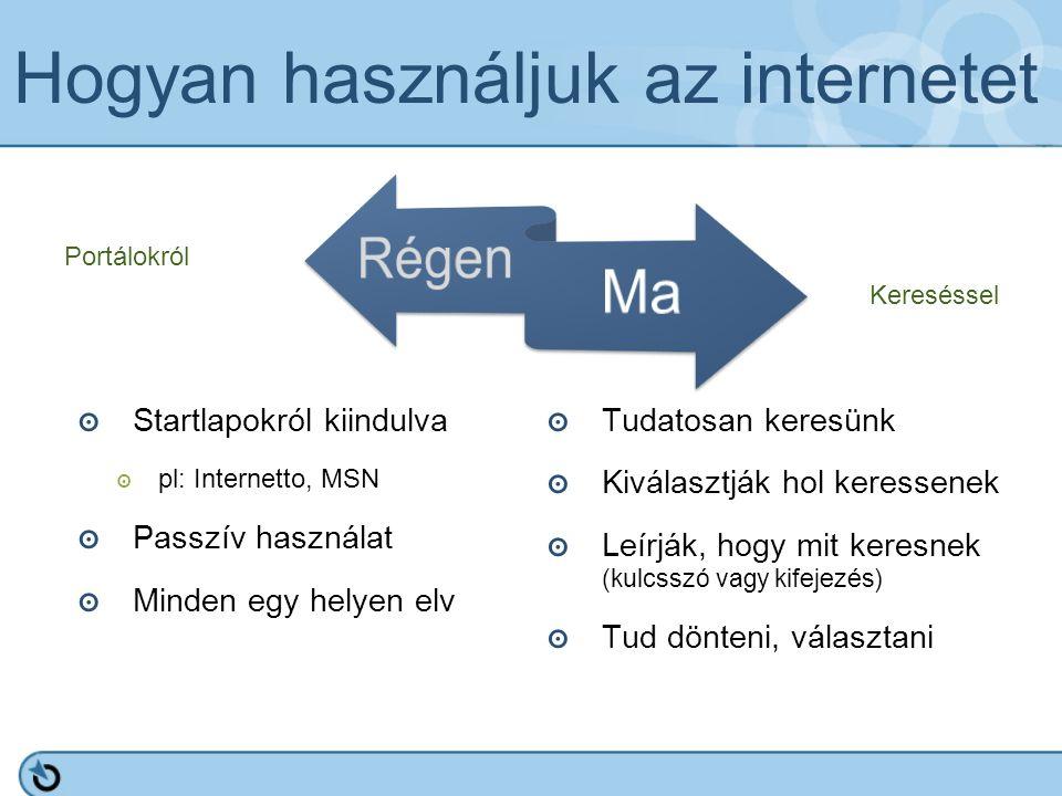 Hogyan használjuk az internetet ๏ Startlapokról kiindulva ๏ pl: Internetto, MSN ๏ Passzív használat ๏ Minden egy helyen elv ๏ Tudatosan keresünk ๏ Kiválasztják hol keressenek ๏ Leírják, hogy mit keresnek (kulcsszó vagy kifejezés) ๏ Tud dönteni, választani Portálokról Kereséssel