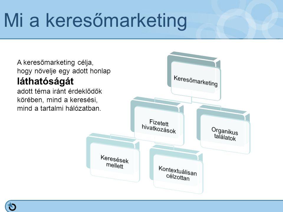 Mi a keresőmarketing A keresőmarketing célja, hogy növelje egy adott honlap láthatóságát adott téma iránt érdeklődők körében, mind a keresési, mind a tartalmi hálózatban.