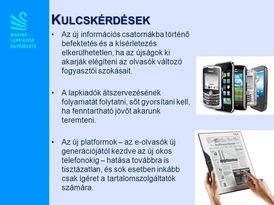 K ULCSKÉRDÉSEK Az új információs csatornákba történő befektetés és a kísérletezés elkerülhetetlen, ha az újságok ki akarják elégíteni az olvasók válto