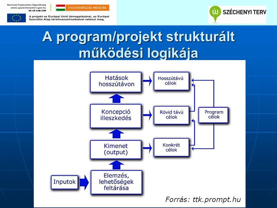 A program/projekt strukturált működési logikája Forrás: ttk.prompt.hu