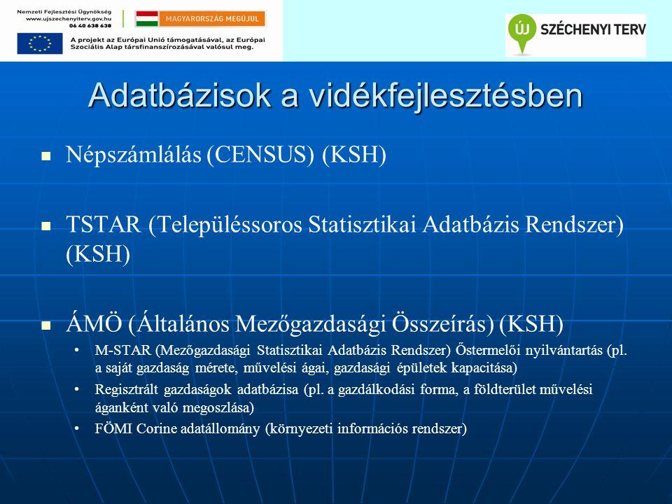 Adatbázisok a vidékfejlesztésben Népszámlálás (CENSUS) (KSH) TSTAR (Településsoros Statisztikai Adatbázis Rendszer) (KSH) ÁMÖ (Általános Mezőgazdasági Összeírás) (KSH) M-STAR (Mezőgazdasági Statisztikai Adatbázis Rendszer) Őstermelői nyilvántartás (pl.