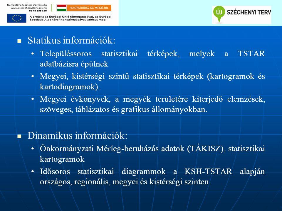 Statikus információk: Településsoros statisztikai térképek, melyek a TSTAR adatbázisra épülnek Megyei, kistérségi szintű statisztikai térképek (kartogramok és kartodiagramok).