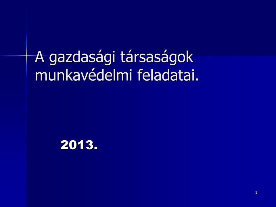 1 A gazdasági társaságok munkavédelmi feladatai. 2013.