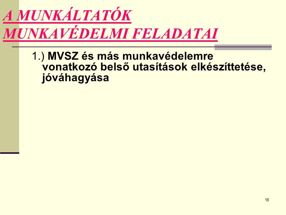 18 A MUNKÁLTATÓK MUNKAVÉDELMI FELADATAI 1.) MVSZ és más munkavédelemre vonatkozó belső utasítások elkészíttetése, jóváhagyása