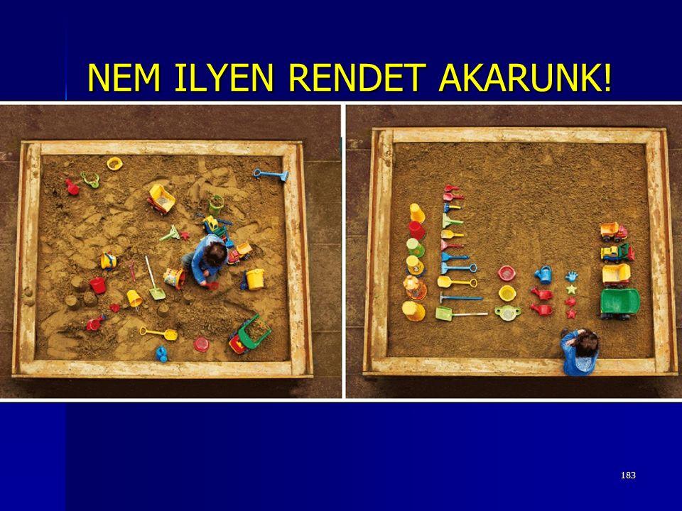 183 NEM ILYEN RENDET AKARUNK!