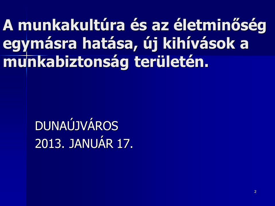 193 Uniós akcióprogram 2012 – 2013 2012 – 2013 A nagy kihívásokról szól, meg tudjuk- e valósítani a társadalmi békét a munkavédelemben A nagy kihívásokról szól, meg tudjuk- e valósítani a társadalmi békét a munkavédelemben