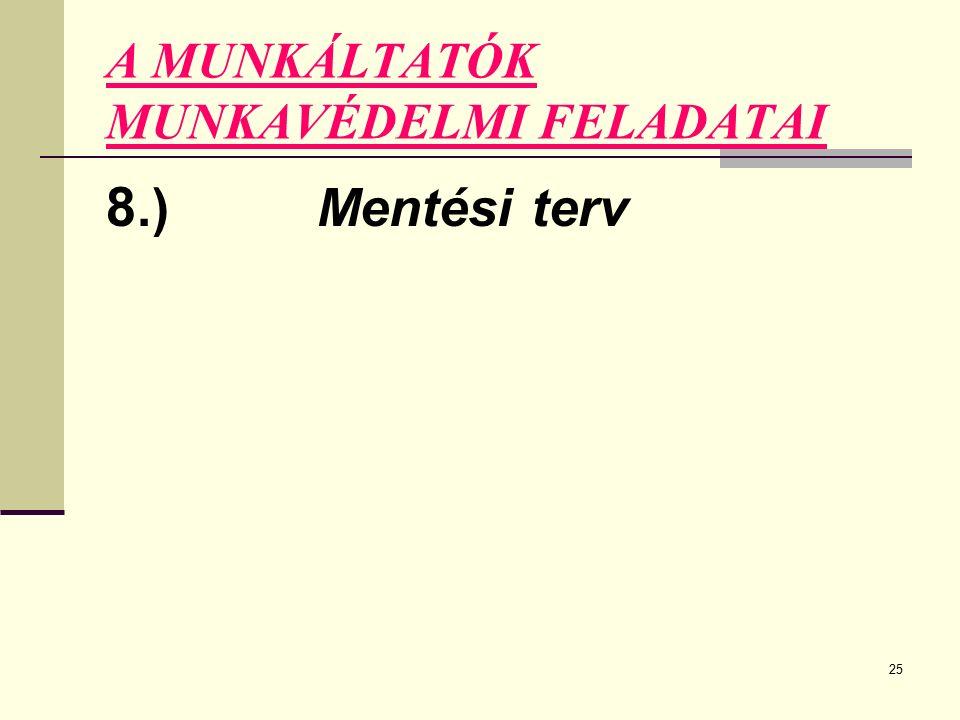 25 A MUNKÁLTATÓK MUNKAVÉDELMI FELADATAI 8.) Mentési terv