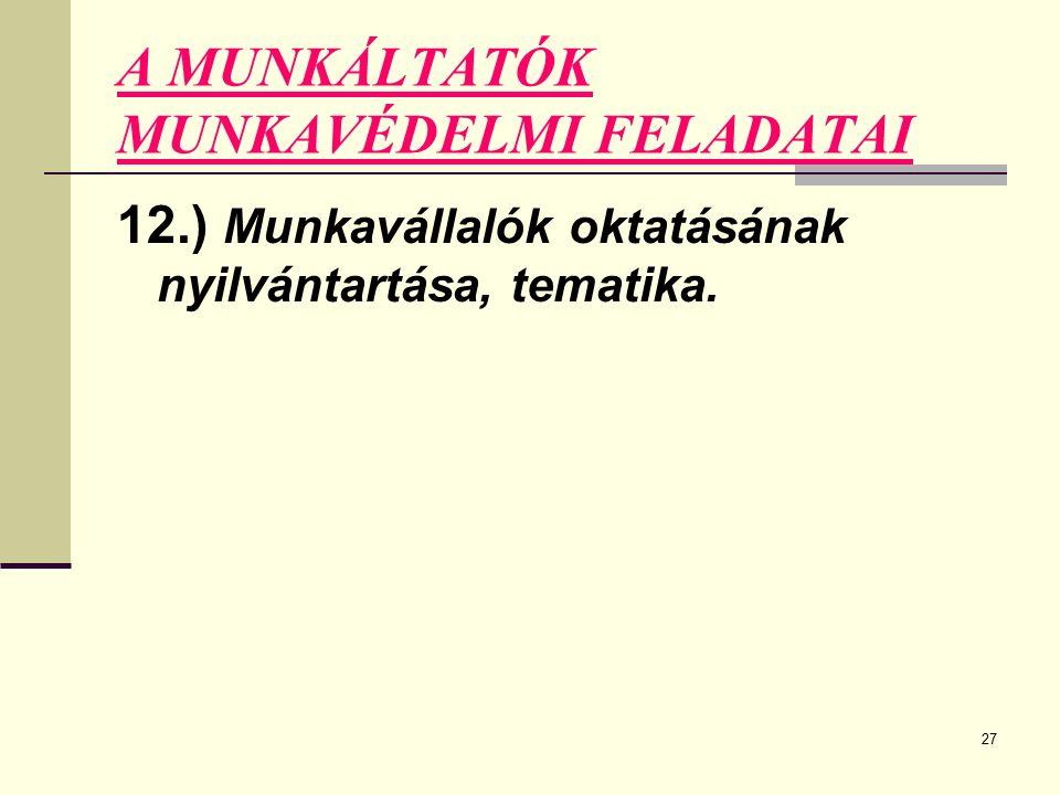 27 A MUNKÁLTATÓK MUNKAVÉDELMI FELADATAI 12.) Munkavállalók oktatásának nyilvántartása, tematika.