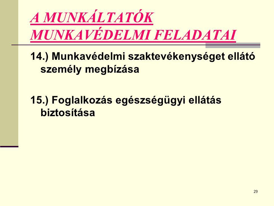 29 A MUNKÁLTATÓK MUNKAVÉDELMI FELADATAI 14.) Munkavédelmi szaktevékenységet ellátó személy megbízása 15.) Foglalkozás egészségügyi ellátás biztosítása