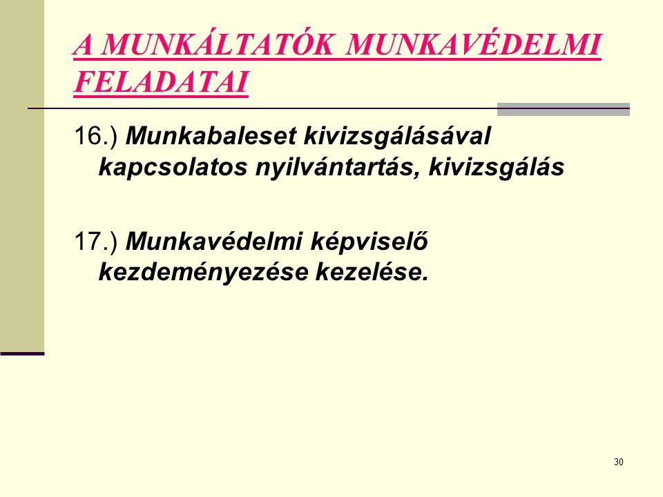 30 A MUNKÁLTATÓK MUNKAVÉDELMI FELADATAI 16.) Munkabaleset kivizsgálásával kapcsolatos nyilvántartás, kivizsgálás 17.) Munkavédelmi képviselő kezdeményezése kezelése.