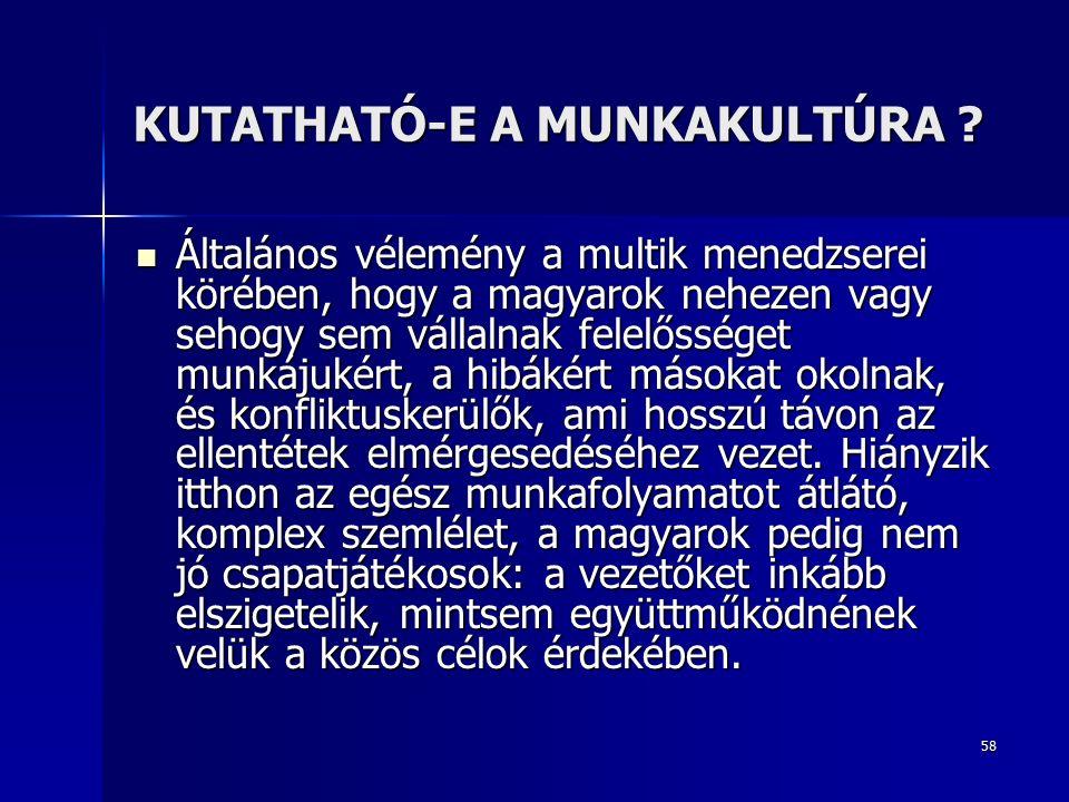 58 KUTATHATÓ-E A MUNKAKULTÚRA .