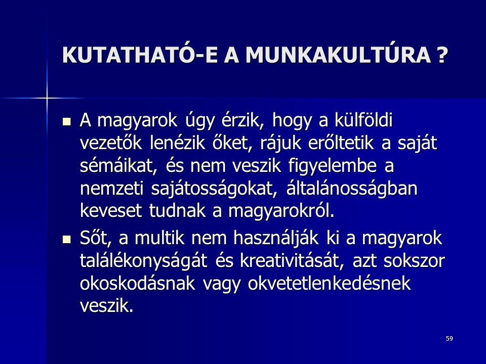 59 KUTATHATÓ-E A MUNKAKULTÚRA .