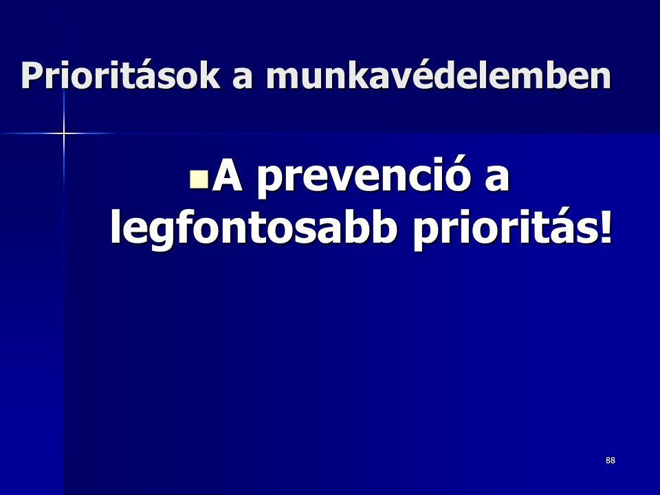 88 Prioritások a munkavédelemben A prevenció a legfontosabb prioritás.