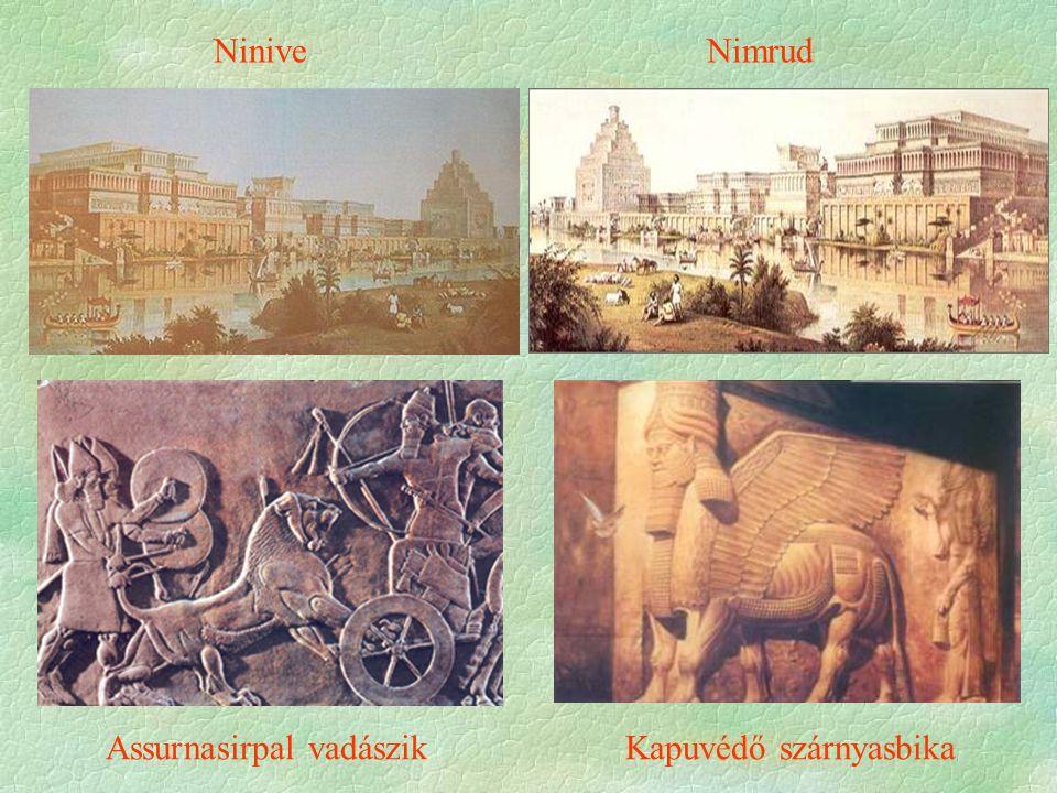 Ninive Nimrud Assurnasirpal vadászik Kapuvédő szárnyasbika