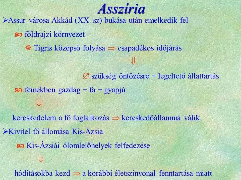 Asszíria  Assur városa Akkád (XX. sz) bukása után emelkedik fel  földrajzi környezet  Tigris középső folyása  csapadékos időjárás   szükség öntö