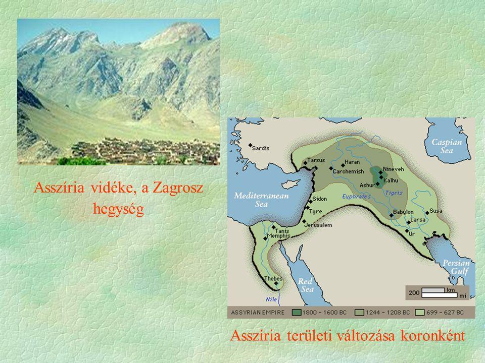 Asszíria vidéke, a Zagrosz hegység Asszíria területi változása koronként