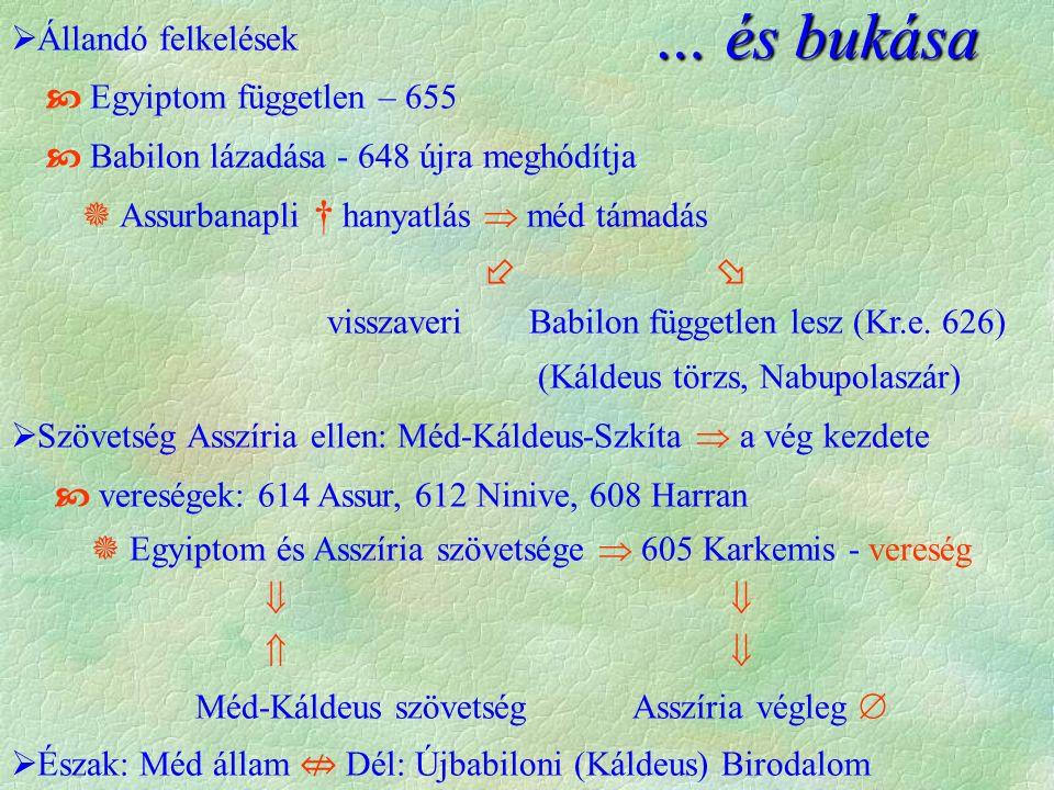  Állandó felkelések  Egyiptom független – 655  Babilon lázadása - 648 újra meghódítja  Assurbanapli † hanyatlás  méd támadás   visszaveri Babil