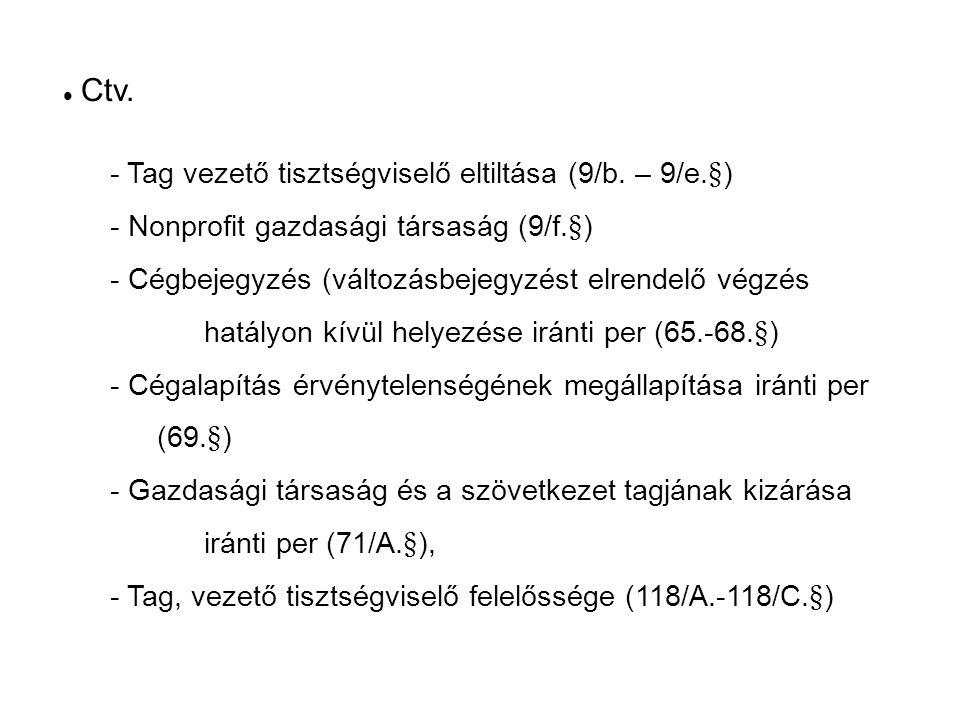 Ctv. - Tag vezető tisztségviselő eltiltása (9/b.