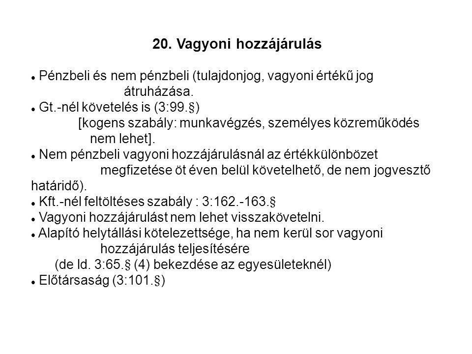 20. Vagyoni hozzájárulás Pénzbeli és nem pénzbeli (tulajdonjog, vagyoni értékű jog átruházása.