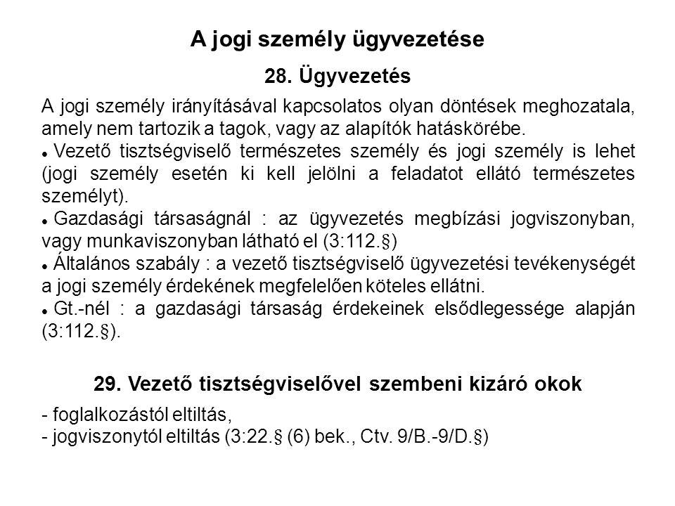 A jogi személy ügyvezetése 28.