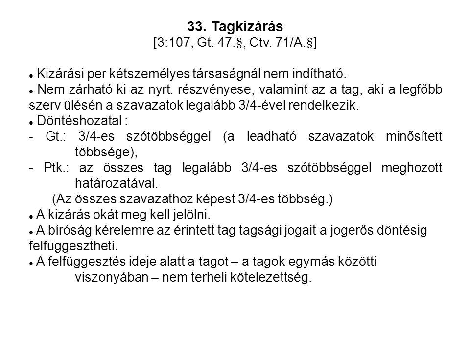 33. Tagkizárás [3:107, Gt. 47.§, Ctv.