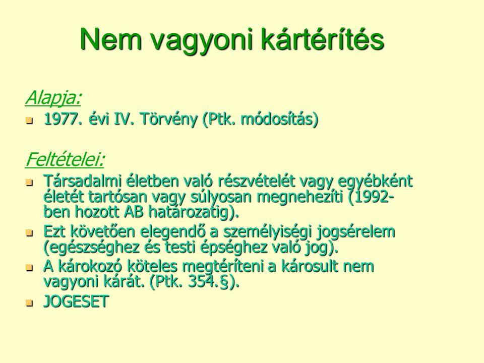 Nem vagyoni kártérítés Alapja: 1977. évi IV. Törvény (Ptk.