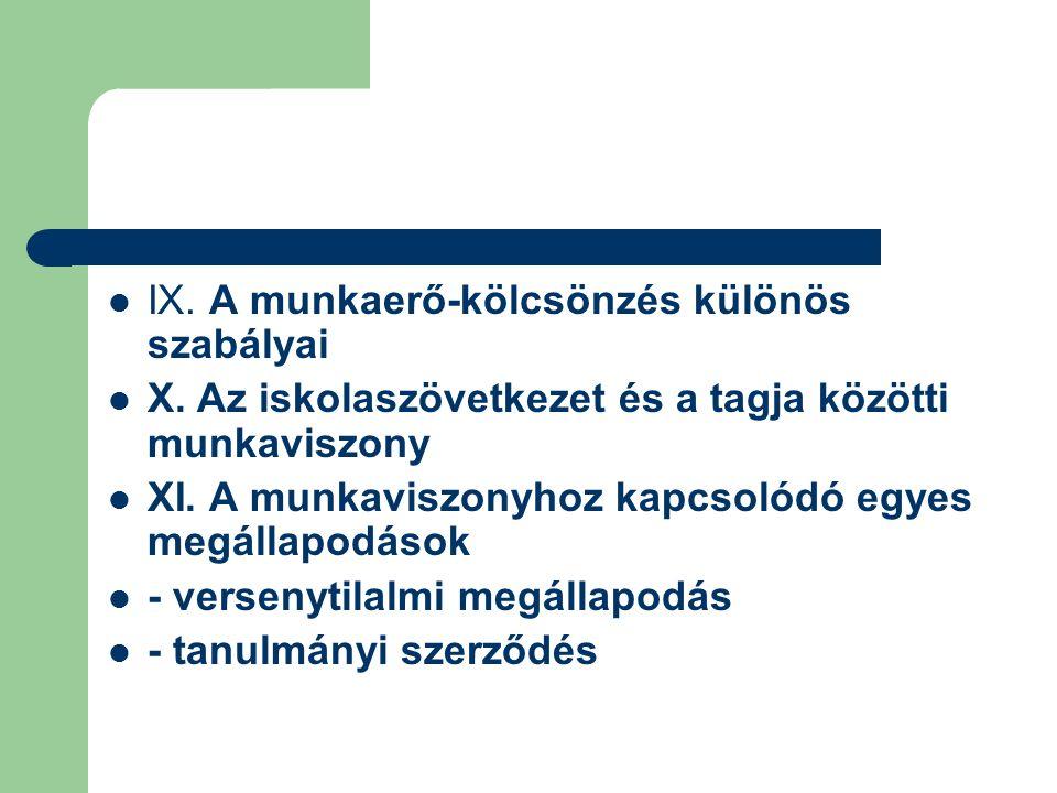 IX. A munkaerő-kölcsönzés különös szabályai X.