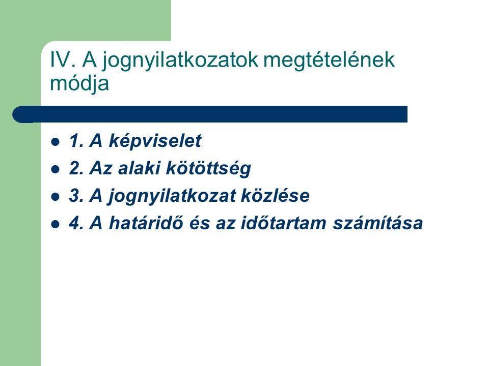 IV. A jognyilatkozatok megtételének módja 1. A képviselet 2.