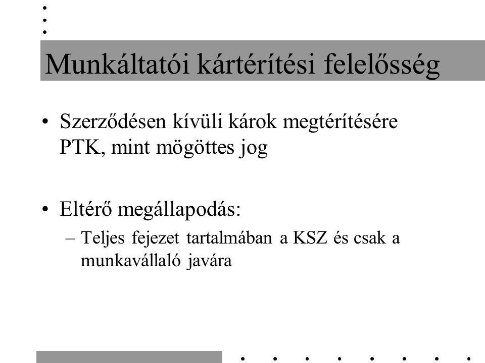 Munkáltatói kártérítési felelősség Szerződésen kívüli károk megtérítésére PTK, mint mögöttes jog Eltérő megállapodás: –Teljes fejezet tartalmában a KSZ és csak a munkavállaló javára