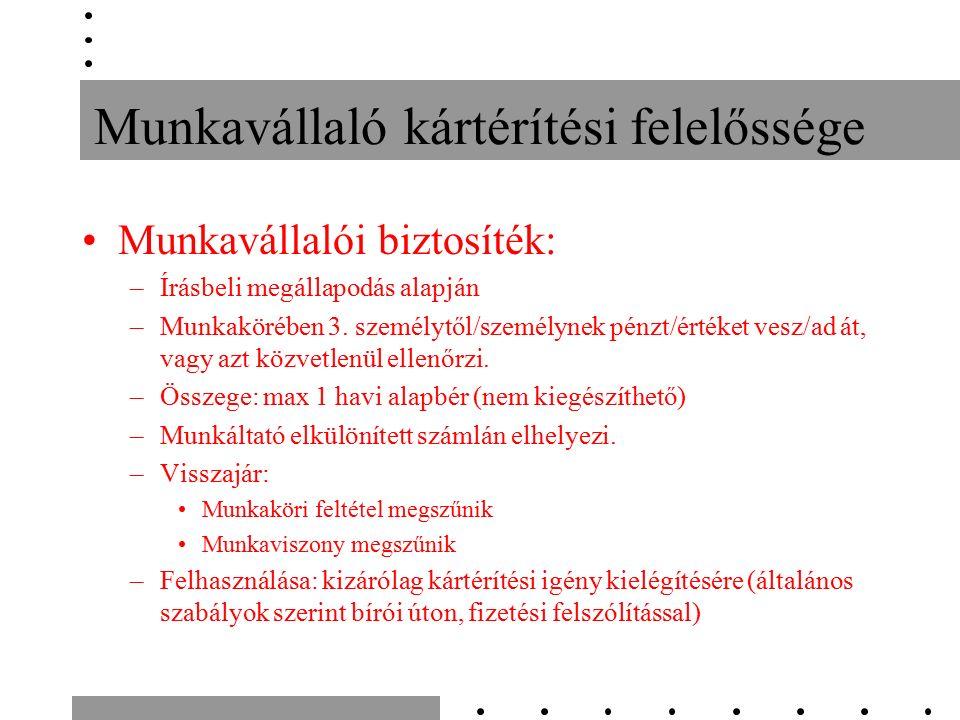 Munkavállaló kártérítési felelőssége Munkavállalói biztosíték: –Írásbeli megállapodás alapján –Munkakörében 3.