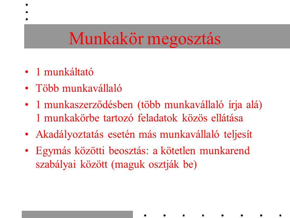 Munkakör megosztás 1 munkáltató Több munkavállaló 1 munkaszerződésben (több munkavállaló írja alá) 1 munkakörbe tartozó feladatok közös ellátása Akadá