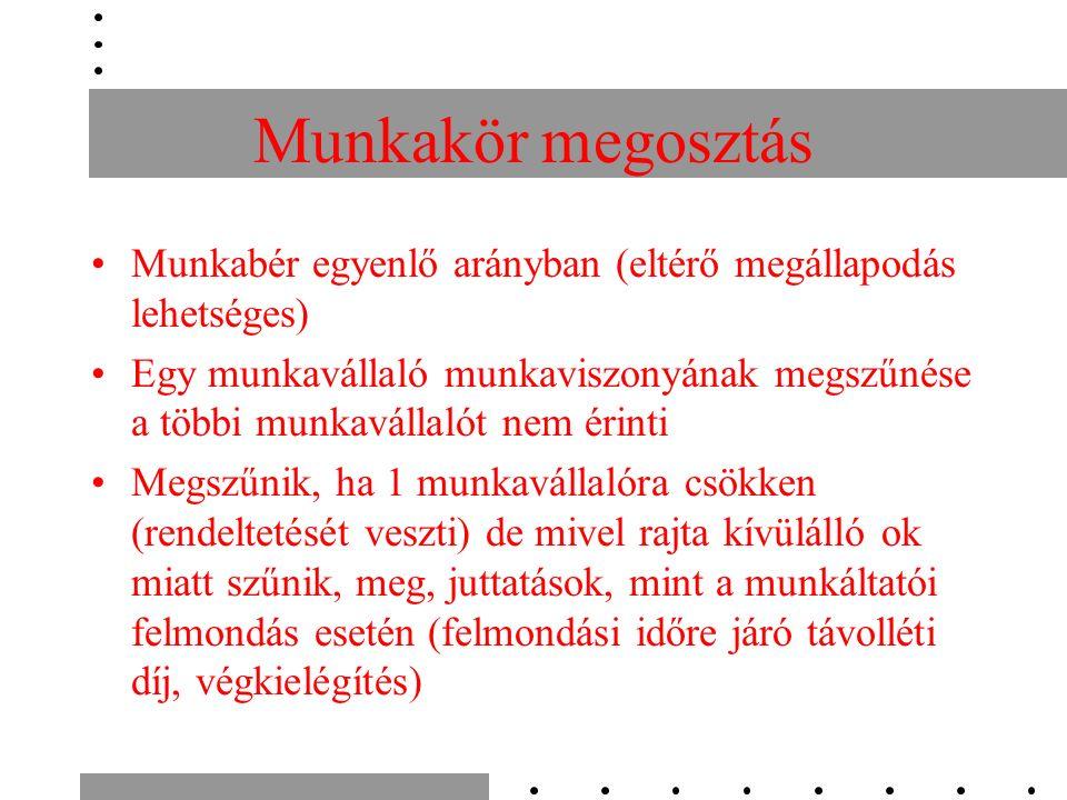 Munkakör megosztás Munkabér egyenlő arányban (eltérő megállapodás lehetséges) Egy munkavállaló munkaviszonyának megszűnése a többi munkavállalót nem é