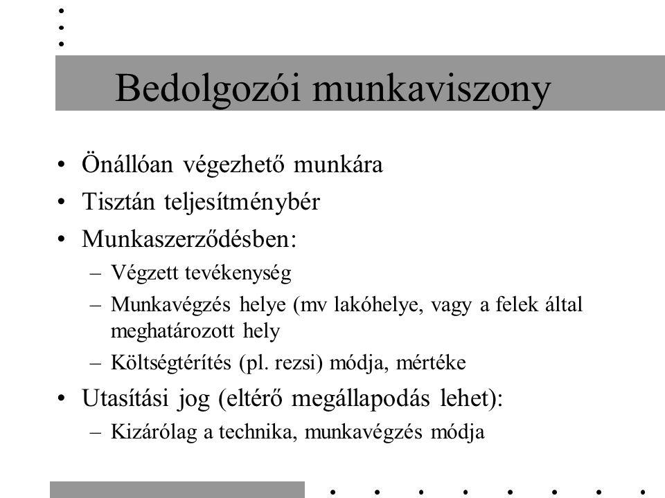 Bedolgozói munkaviszony Önállóan végezhető munkára Tisztán teljesítménybér Munkaszerződésben: –Végzett tevékenység –Munkavégzés helye (mv lakóhelye, vagy a felek által meghatározott hely –Költségtérítés (pl.
