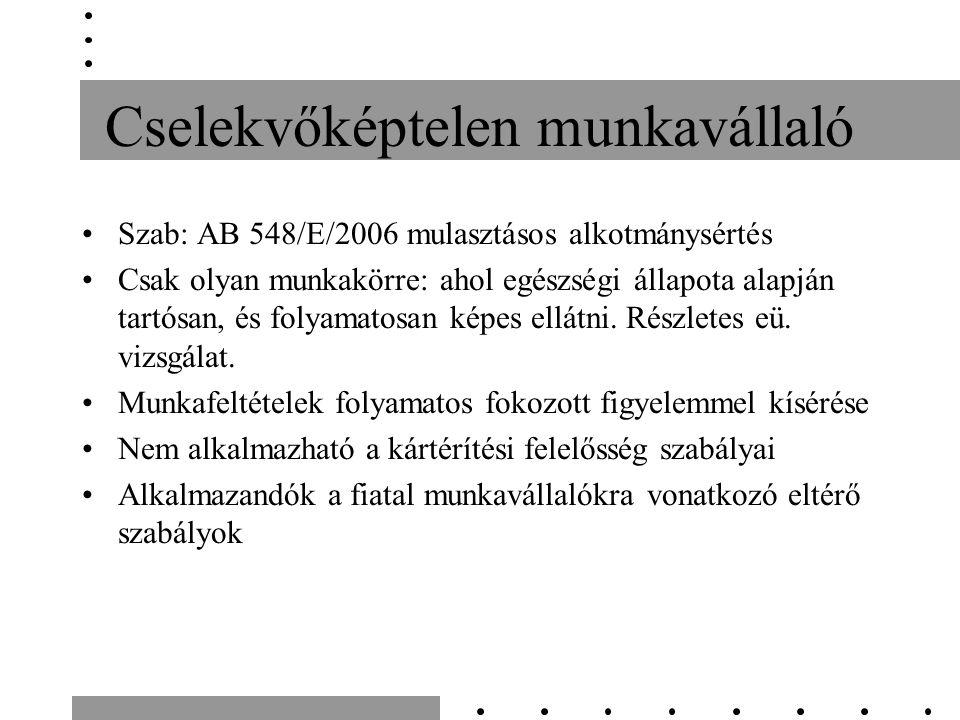 Cselekvőképtelen munkavállaló Szab: AB 548/E/2006 mulasztásos alkotmánysértés Csak olyan munkakörre: ahol egészségi állapota alapján tartósan, és foly