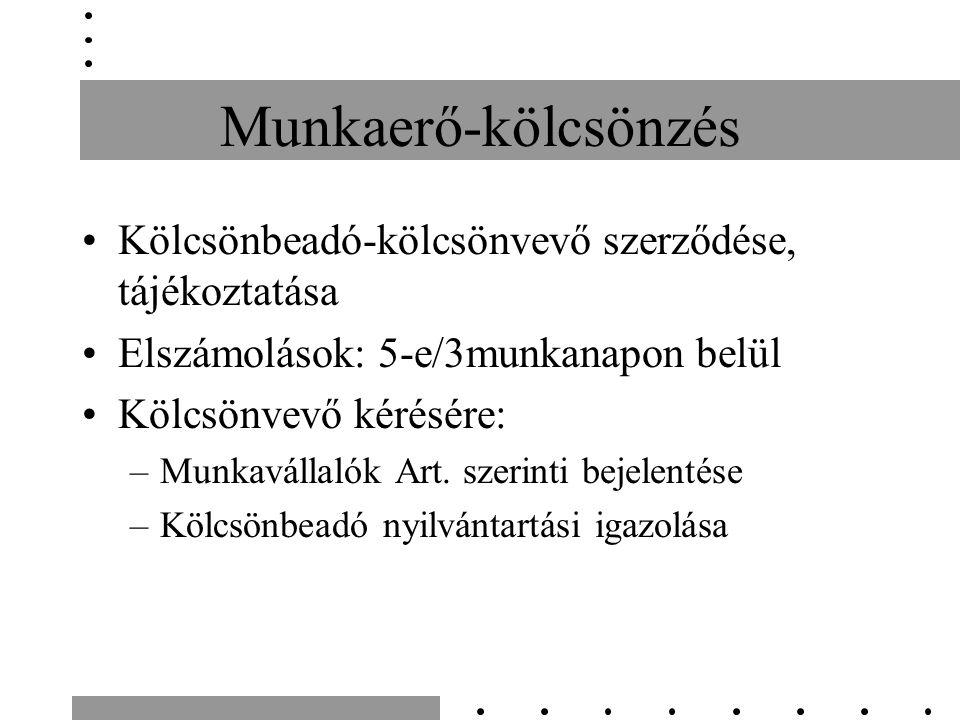 Munkaerő-kölcsönzés Kölcsönbeadó-kölcsönvevő szerződése, tájékoztatása Elszámolások: 5-e/3munkanapon belül Kölcsönvevő kérésére: –Munkavállalók Art.